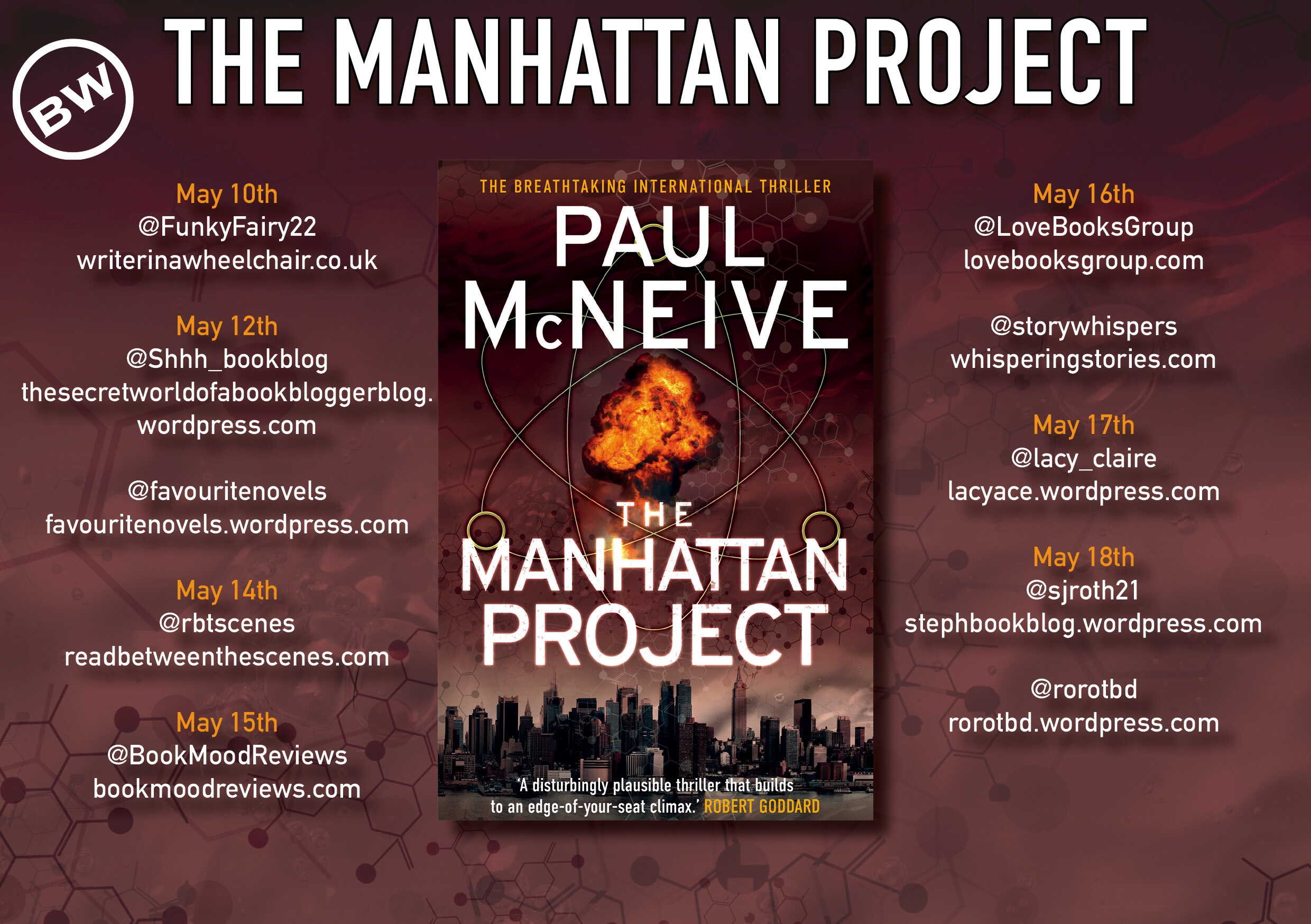 Blog tour banner for The Manhattan Project by Paul McNeive featuring the cover and a list of blogs taking part.